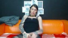 Tattooed Ladyboy Masturbate On Webcam