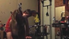 Party Chick Bangs In A Garage