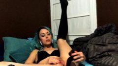 Blue Haired Bitch Masturbates On Webcam