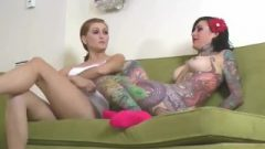 Tall Redhead And A Tatted Brunette Play A Strip Memory Game