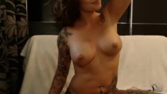 Tattooed Step Mom Using Lotion And Playing With Herself On Webcam